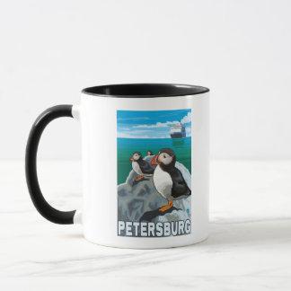 Puffins & Cruise Ship - Petersburg, Alaska Mug