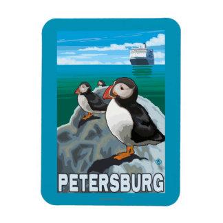 Puffins & Cruise Ship - Petersburg, Alaska Rectangular Photo Magnet