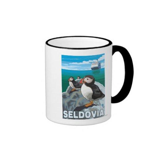Puffins & Cruise Ship - Seldovia, Alaska Ringer Coffee Mug