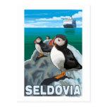 Puffins & Cruise Ship - Seldovia, Alaska Postcard