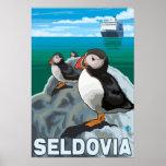 Puffins & Cruise Ship - Seldovia, Alaska Poster