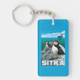 Puffins & Cruise Ship - Sitka, Alaska Double-Sided Rectangular Acrylic Keychain