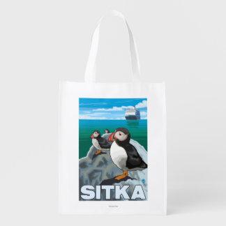 Puffins & Cruise Ship - Sitka, Alaska Grocery Bag