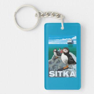 Puffins & Cruise Ship - Sitka, Alaska Keychain