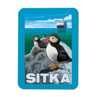 Puffins & Cruise Ship - Sitka, Alaska Rectangular Photo Magnet