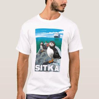 Puffins & Cruise Ship - Sitka, Alaska T-Shirt