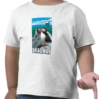 Puffins & Cruise Ship - Skagway, Alaska T-shirts