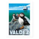 Puffins & Cruise Ship - Valdez, Alaska Postcard