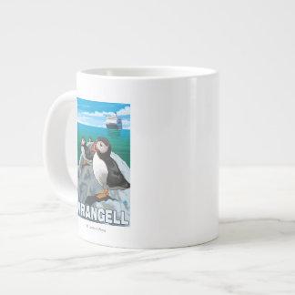 Puffins & Cruise Ship - Wrangell, Alaska Extra Large Mugs