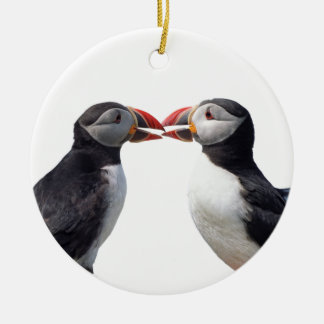 Puffins Double-Sided Ceramic Round Christmas Ornament