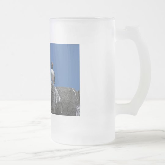 Puffins Frosted Glass Beer Mug