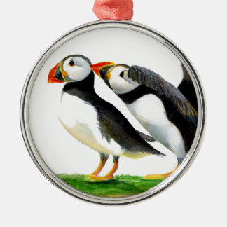 Puffins Seabirds in Watercolour Paints Artwork Metal Ornament