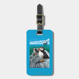 Puffins watching a Cruise Ship Luggage Tag