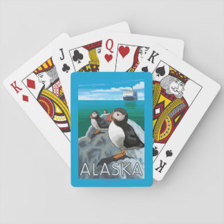 Puffins watching a Cruise Ship Poker Cards