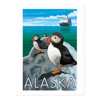 Puffins watching a Cruise Ship Postcard
