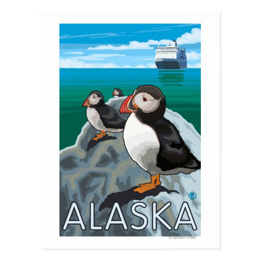Puffins watching a Cruise Ship Post Card