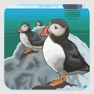 Puffins watching a Cruise Ship Square Sticker