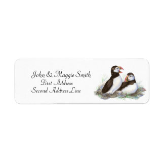 Puffins, Watercolor Bird Collection Label