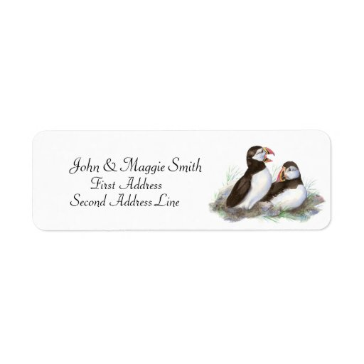 Puffins, Watercolor Bird Collection Custom Return Address Label