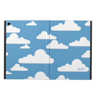Puffy Cartoon Clouds on Blue Sky Optional Initials Cover For iPad Air