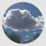 Puffy Cloud Round Stickers