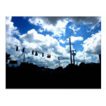 Puffy clouds and street postcards