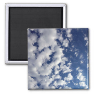 Puffy Clouds On Blue Sky 2 Inch Square Magnet