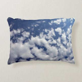 Puffy Clouds On Blue Sky Accent Pillow