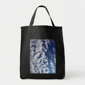 Puffy Clouds On Blue Sky Grocery Tote Bag