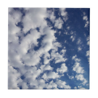 Puffy Clouds On Blue Sky Ceramic Tile