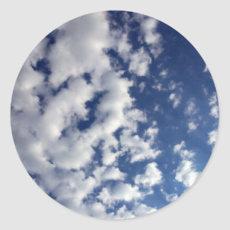 Puffy Clouds On Blue Sky Classic Round Sticker
