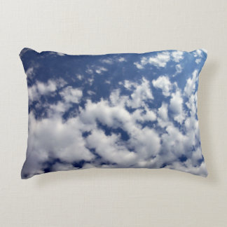 Puffy Clouds On Blue Sky Decorative Pillow