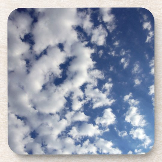 Puffy Clouds On Blue Sky Drink Coaster