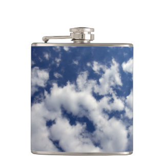 Puffy Clouds On Blue Sky Flask