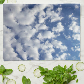 Puffy Clouds On Blue Sky Hand Towels