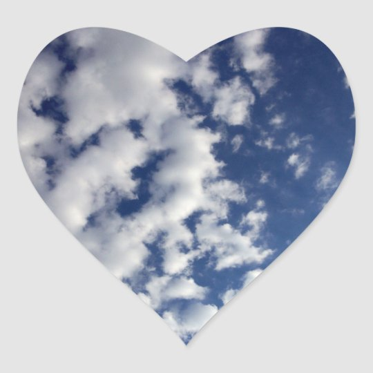 Puffy Clouds On Blue Sky Heart Sticker