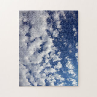 Puffy Clouds On Blue Sky Jigsaw Puzzle