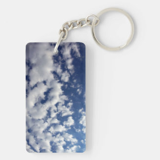 Puffy Clouds On Blue Sky Double-Sided Rectangular Acrylic Keychain