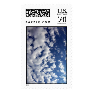 Puffy Clouds On Blue Sky – Large Postage Stamp
