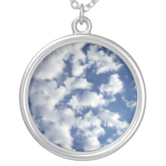 Puffy Clouds On Blue Sky Round Pendant Necklace
