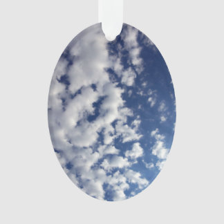 Puffy Clouds On Blue Sky Ornament