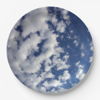 Puffy Clouds On Blue Sky Paper Plate