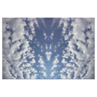 Puffy Clouds On Blue Sky Photo Fabric