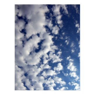 Puffy Clouds On Blue Sky Postcard