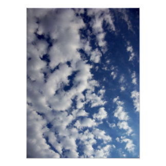 Puffy Clouds On Blue Sky Poster