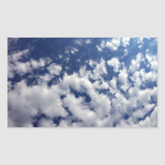Puffy Clouds On Blue Sky Rectangular Stickers