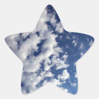 Puffy Clouds On Blue Sky Star Sticker