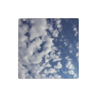 Puffy Clouds On Blue Sky Stone Magnet