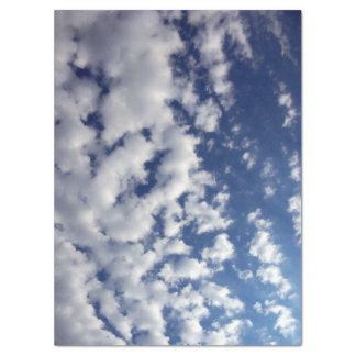 Puffy Clouds On Blue Sky Tissue Paper