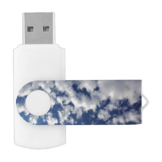 Puffy Clouds On Blue Sky USB Flash Drive